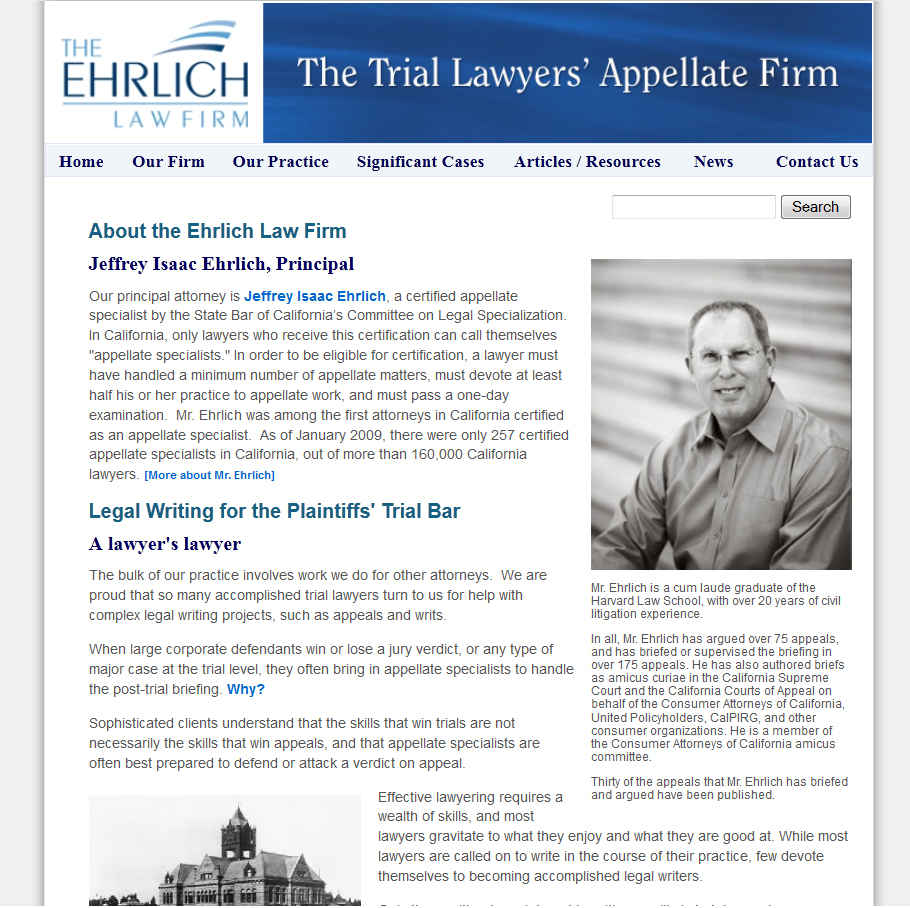 The Ehrlich Law Firm, Insurance Bad Faith Appeals