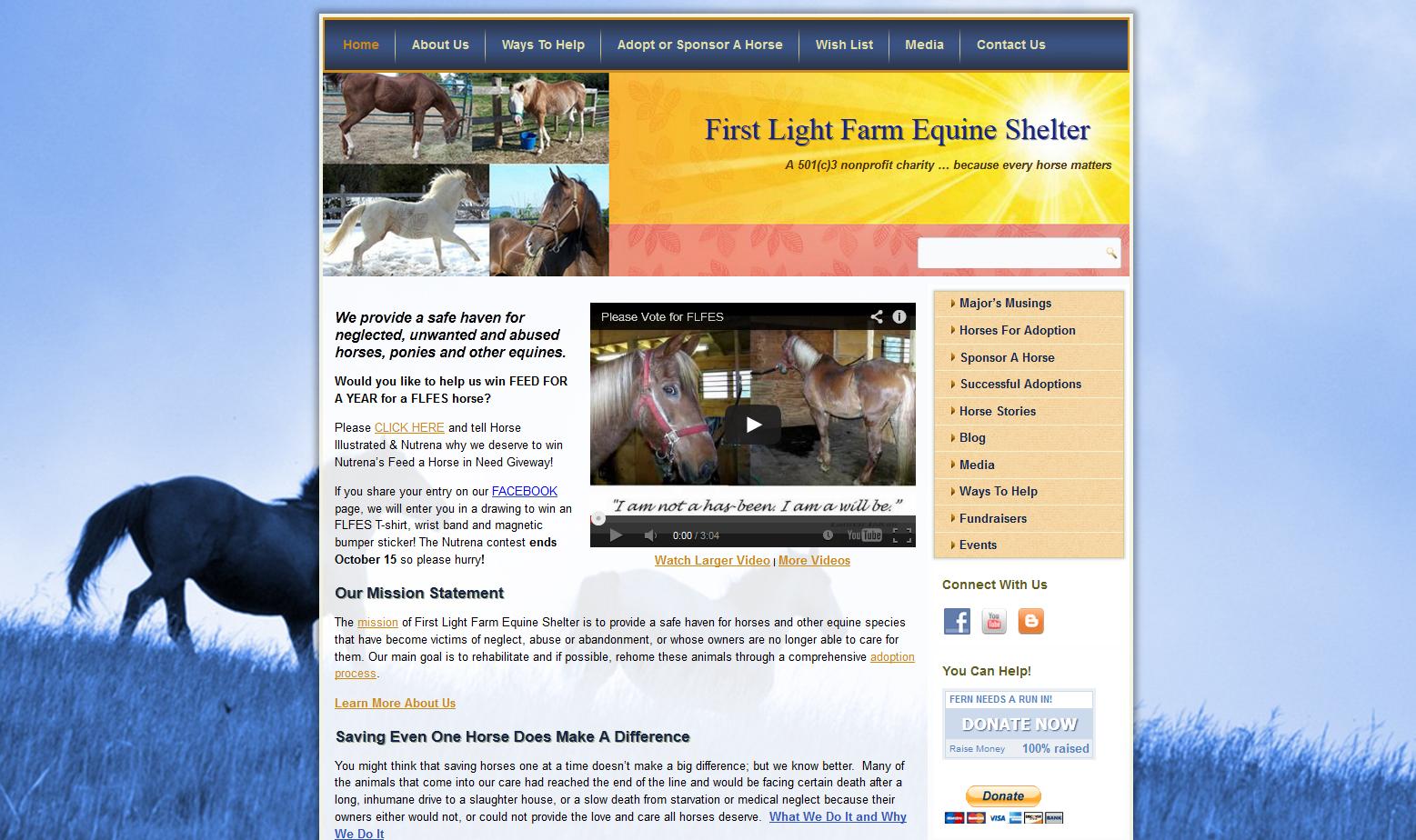 First Light Farm Equine Shelter, Pro Bono Horse Website Design
