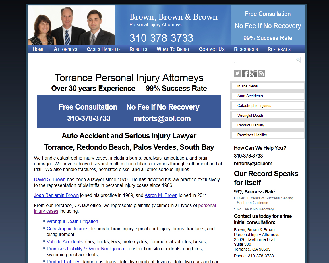 California Personal Injury Lawyer Website