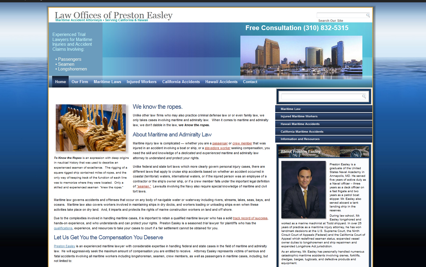 Preston Easley, Maritime Accident Attorney Website