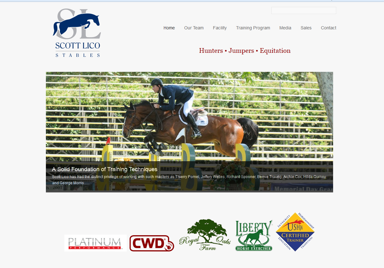 Scott Lico Stables, Horse Website Design