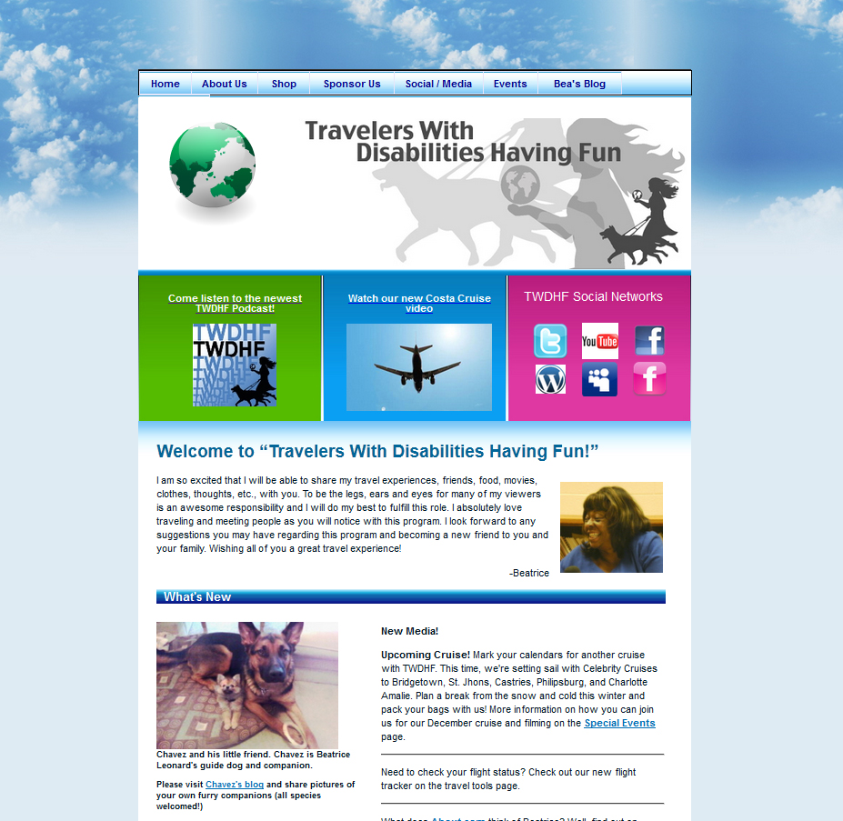 Travelers With Disabilities Having Fun, Pro Bono Website Design